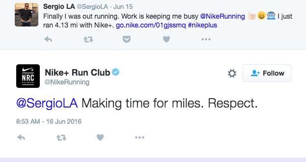 Nike's customer engagement on Twitter