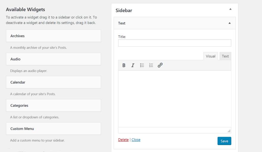 The updated WordPress text widget.